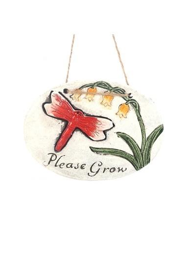 Bosphorus 17 X 15 X 1,3 Cm Kelebek Ve Çiçek Desenli Please Grow Yazılı Ip Askılı Oval Balkon Ve Bahçe Süsü Gri